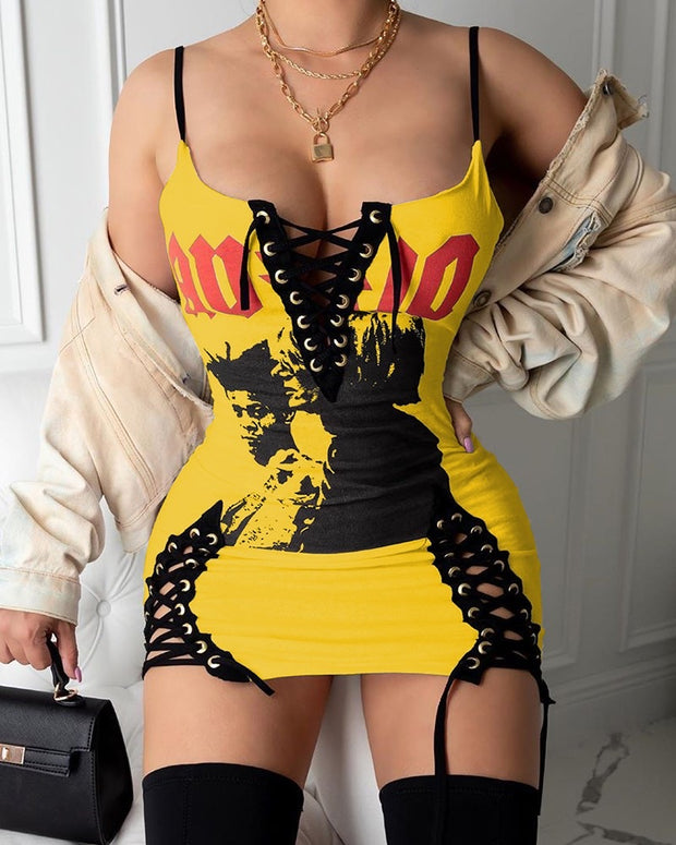 SEXY THING Lace up Mini Dress