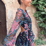 NADINE Floral Print Backless Maxi Dress