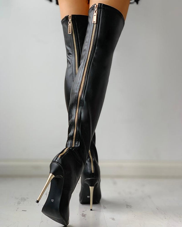 ISA Zipper black over knee high boots