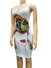 MILA  sleeveless print bodycon midi dress