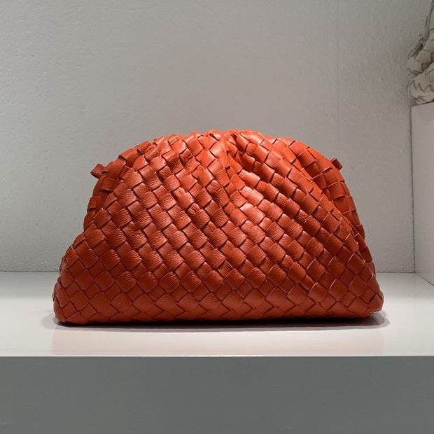 VIVIEN Cowhide Woven Pleated Bag