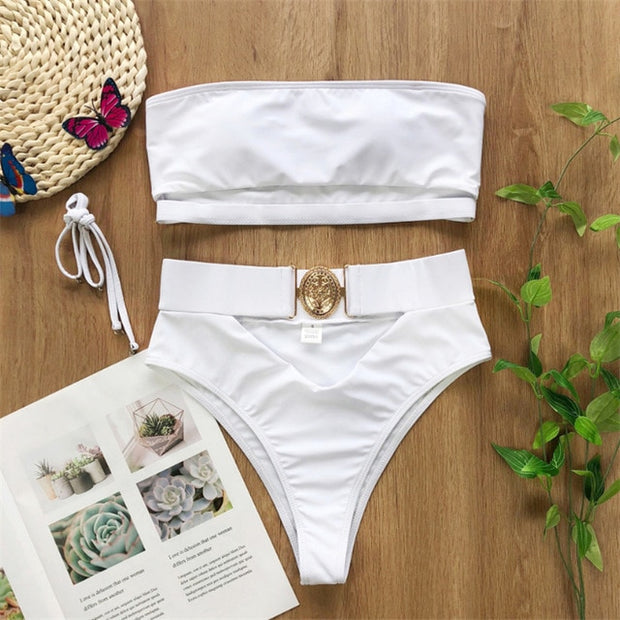 GLAM ALERT  High Waist CUT Out Swimsuit