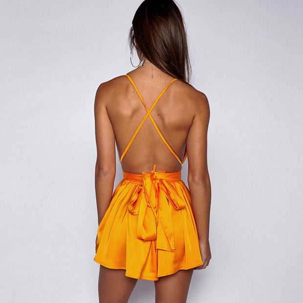 WARE Satin Backless Dress