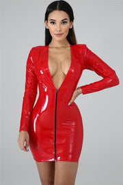 KATARINA  PU Leather Sexy Dress