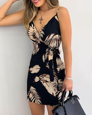 VACAY Print V-Neck Wrap Dress