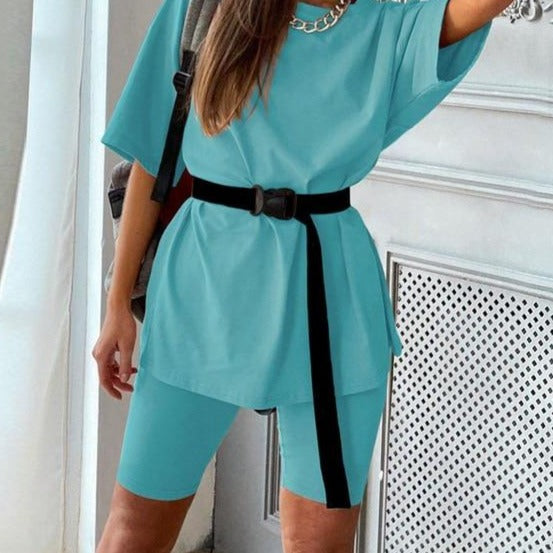 LORETTA Casual Two Piece Suit with Belt