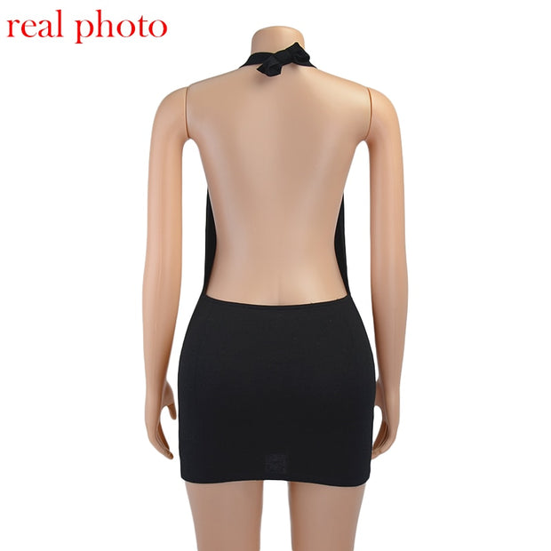 LULUS Halter Sexy Backless Mini Dress