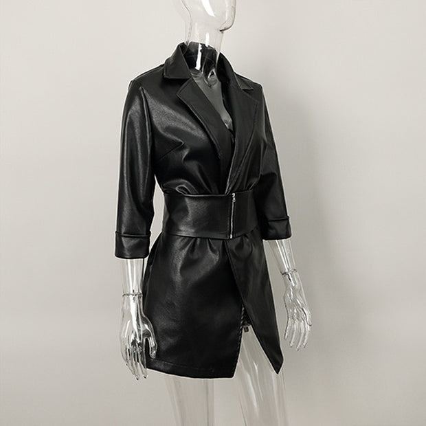 GAYA Faux Leather Dress With Belt