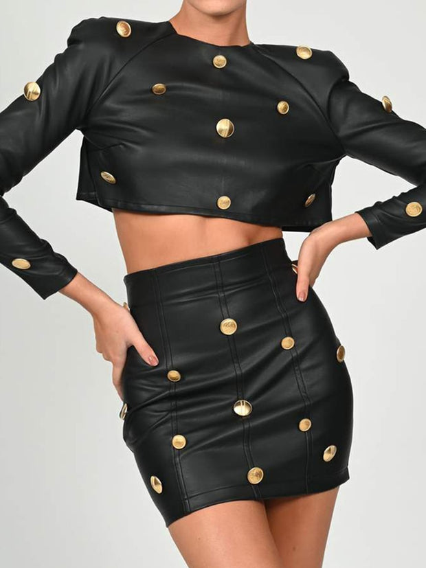 KIVA Leather Two Piece Skirt Set
