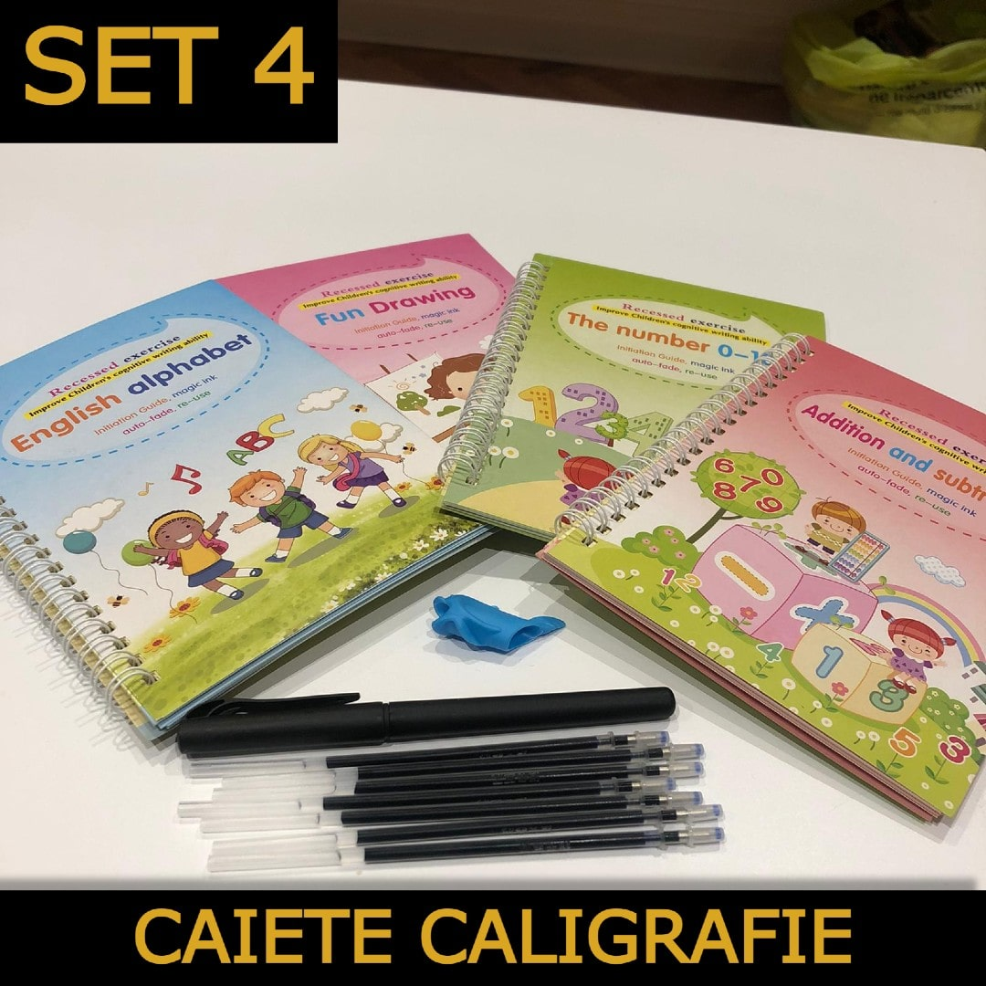 KalliBook - Set 4 Carti Caligrafie Reutilizabile - Stilou Magic + Rezerve Wonder Ink
