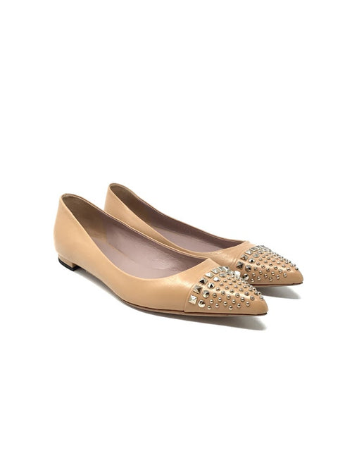 Gucci 37.5 Leather Studded Toe 'Coline'  Flats