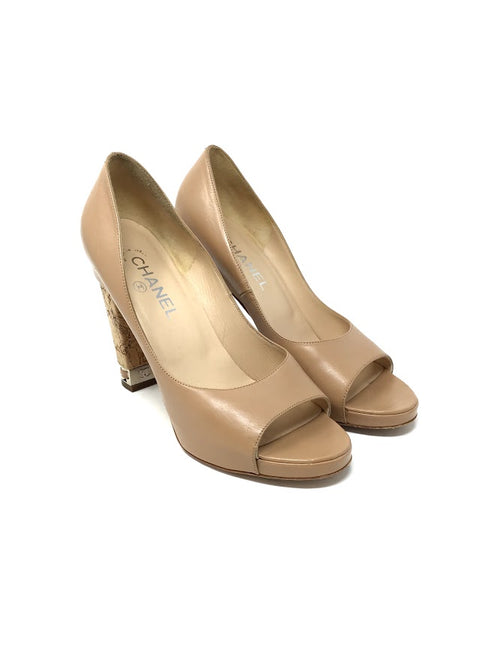 Chanel W Shoe Size 39.5 Open Toe Cork Heel W/Chain Detail Pump