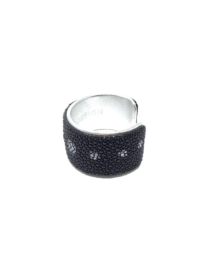 Lema J Design Black/Silver Painted Stingray Hide Cuff