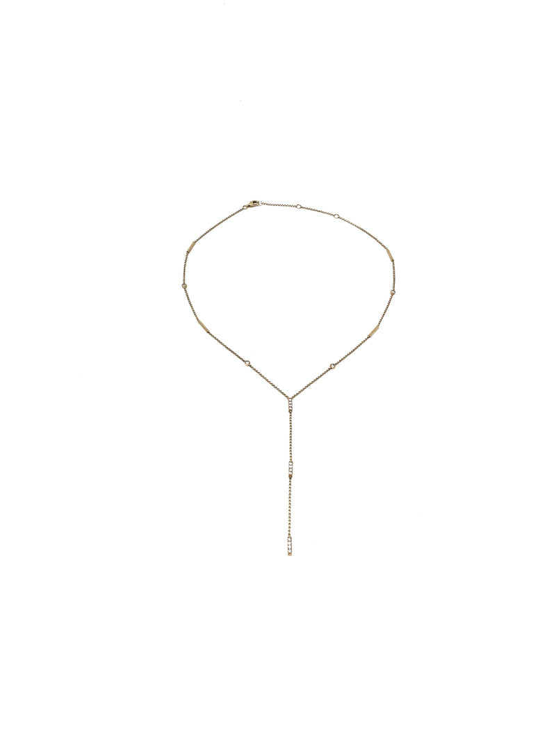 Bella Madre 14K Diamond Detail Lariat Necklace