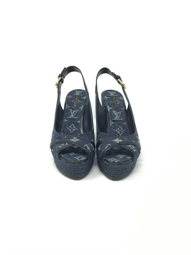 Louis Vuitton Size 39 Monogram Denim Espadrille Slingback Wedge