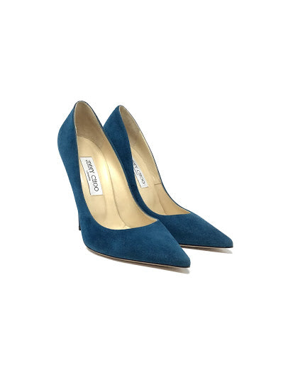 Jimmy Choo 39 Pumps 'Anouk' 120 Suede W/Lacquered Heel