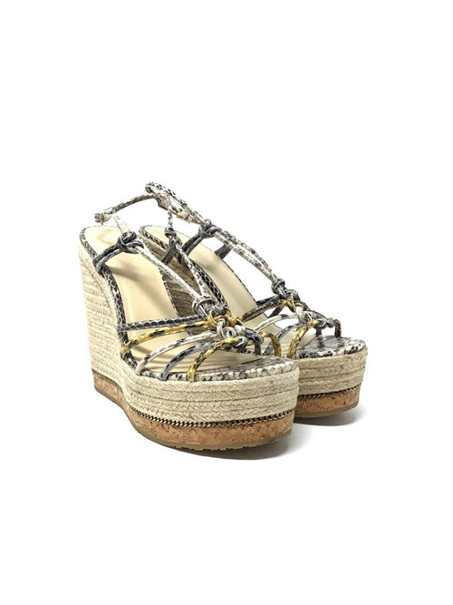 Jimmy Choo W Shoe Size 39.5 Snakeskin Braided Raffia/Cork Wedge