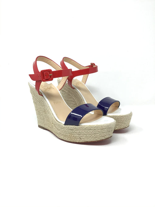 Christian Louboutin W Shoe Size 40 Tri-Color Patent 'Spachica' Espadrille Wedge