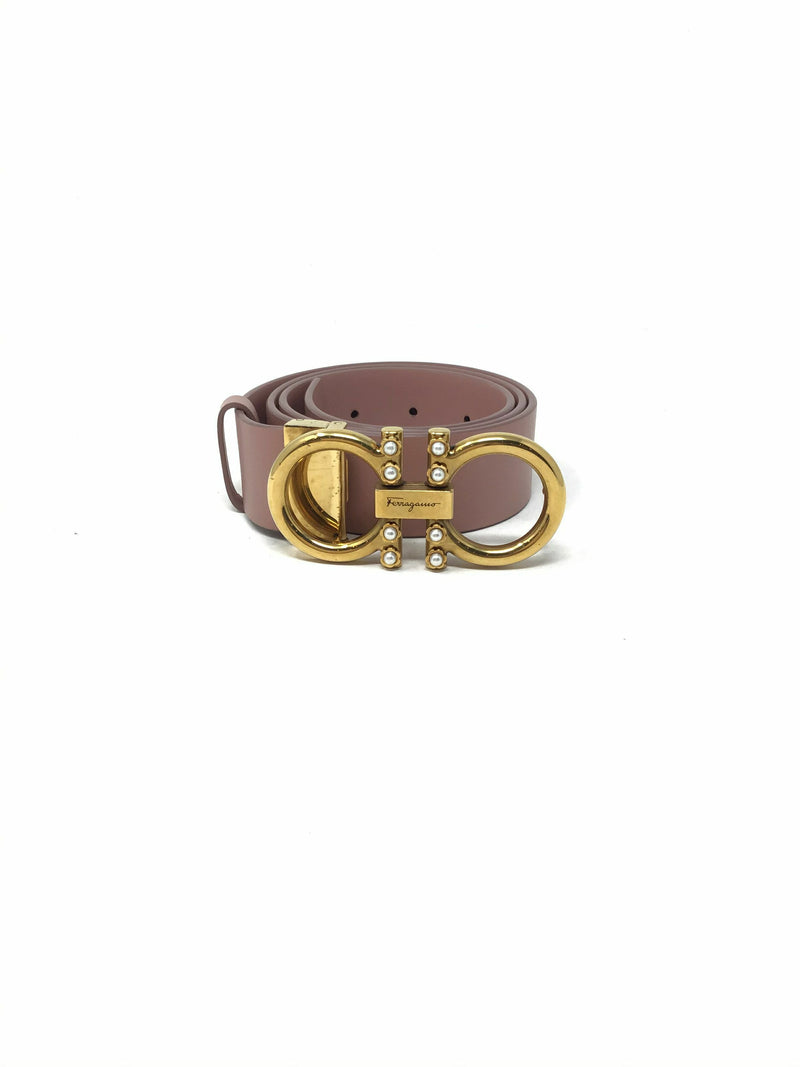 Salvatore Ferragamo Size 80 Antique Rose Gancini Pearl Belt