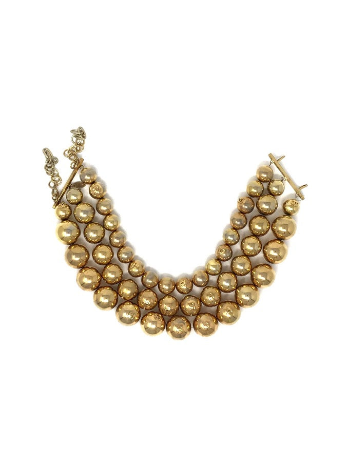 Chanel WB '86-'89 Gold Tone Bead Ball 3 Strand Necklace