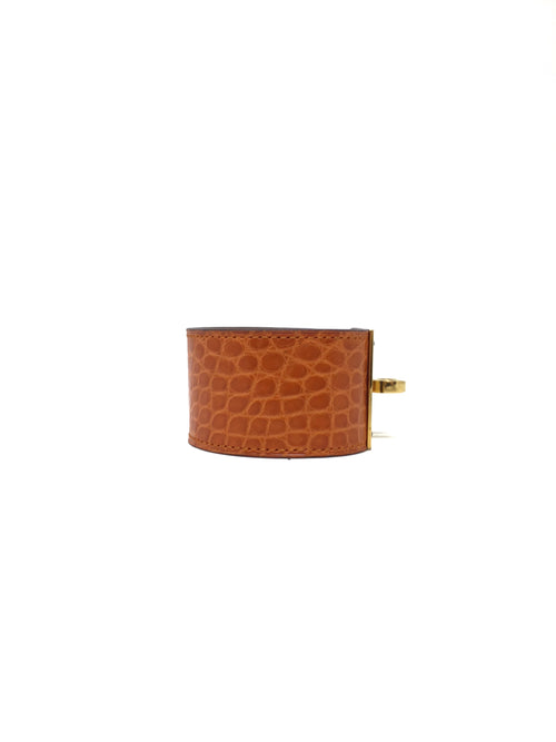 Hermes Orange Kelly Dog Bracelet W/Matte Alligator