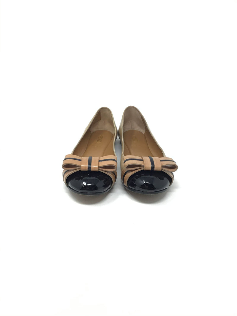 Fendi W Shoe Size 37.5 Two-Tone Patent Cap Toe Bow Flat