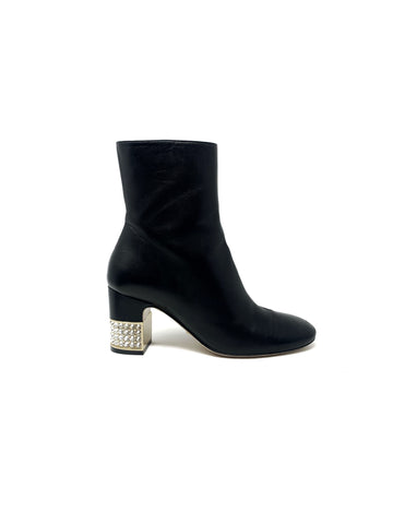 Gucci Crystal Block Heel Booties Size 36.5