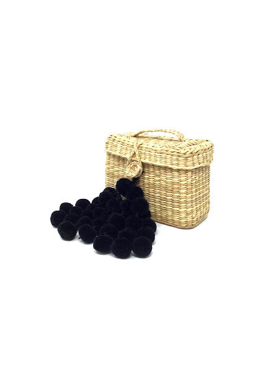 Nannacay Natural  Pom Pom Raffia Mini Bag