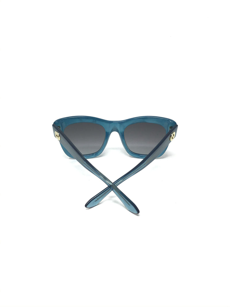 Gucci Marble Frame GG Logo W/ Transparent Stem Sunglasses