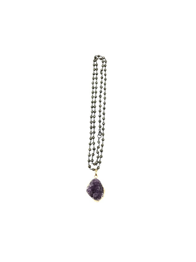 Shalom Jewelry 15190S Amethyst Beaded  Long  Necklace