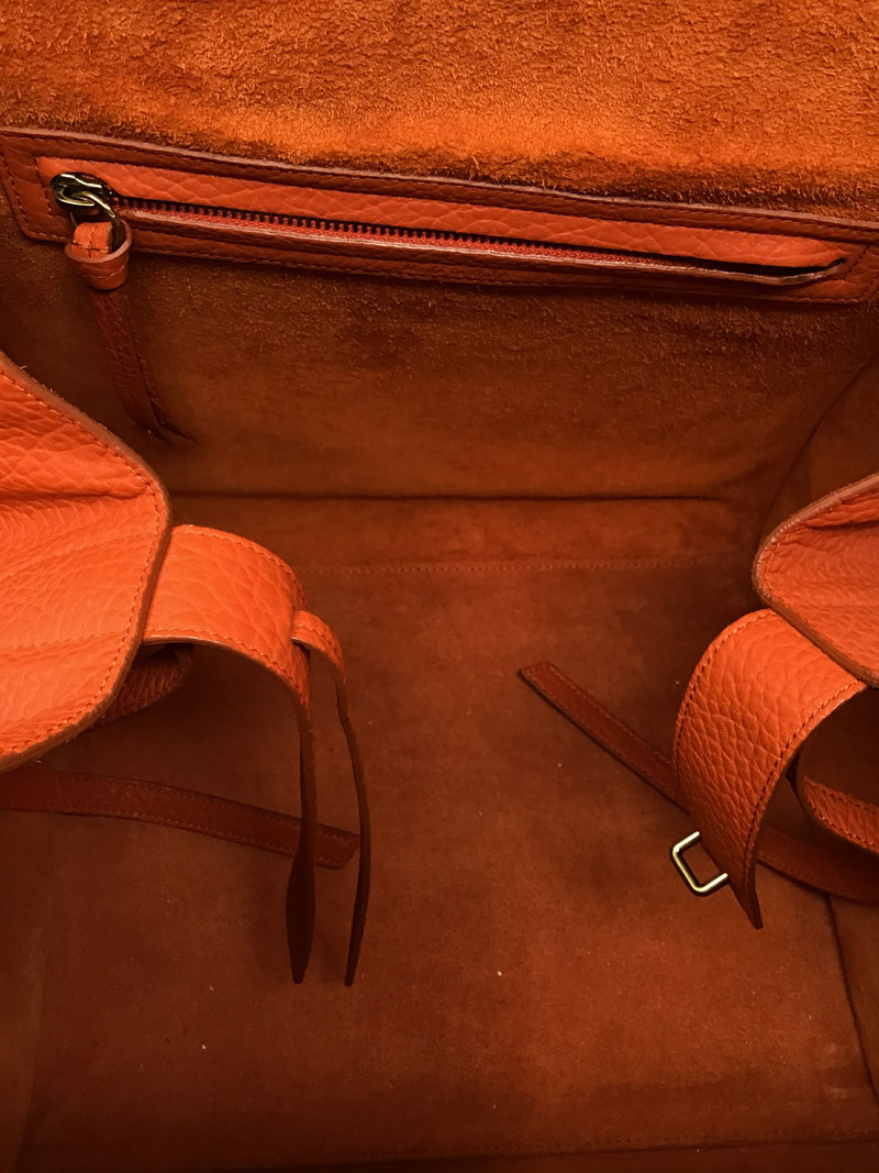 Celine Burnt Orange '15 'Phantom' Medium Texture Leather Tote