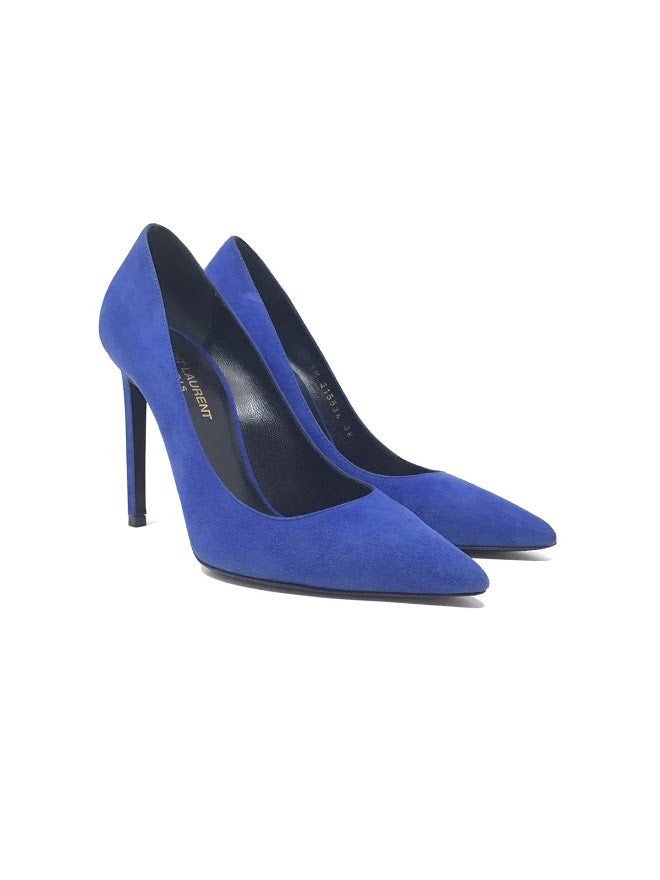 Saint Laurent W Shoe Size 38 WB Suede 'Anja 105' Pointed Toe Pump