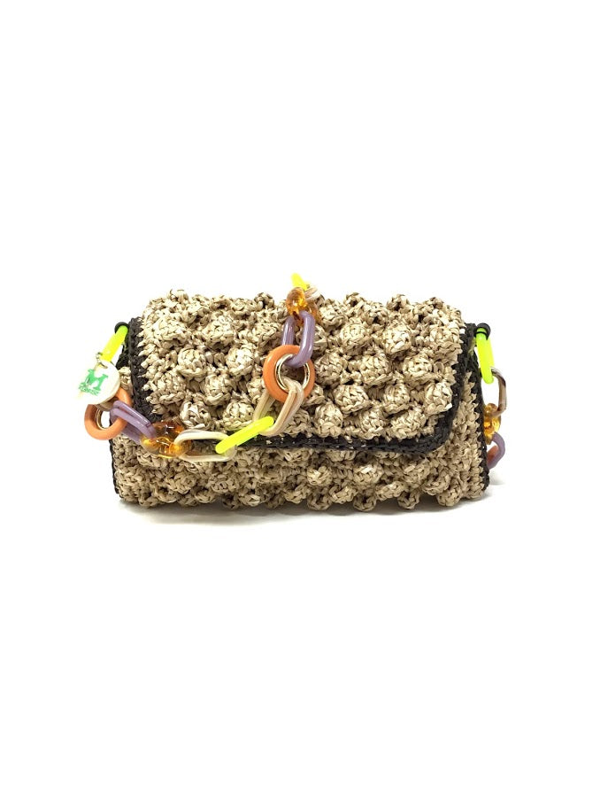 Missoni Multi Straw Knot Flap Bag W/Tortoise Chain