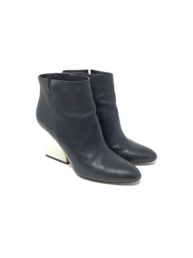 Jimmy Choo 37.5 'Myth' Leather Mirrored Heel Booties