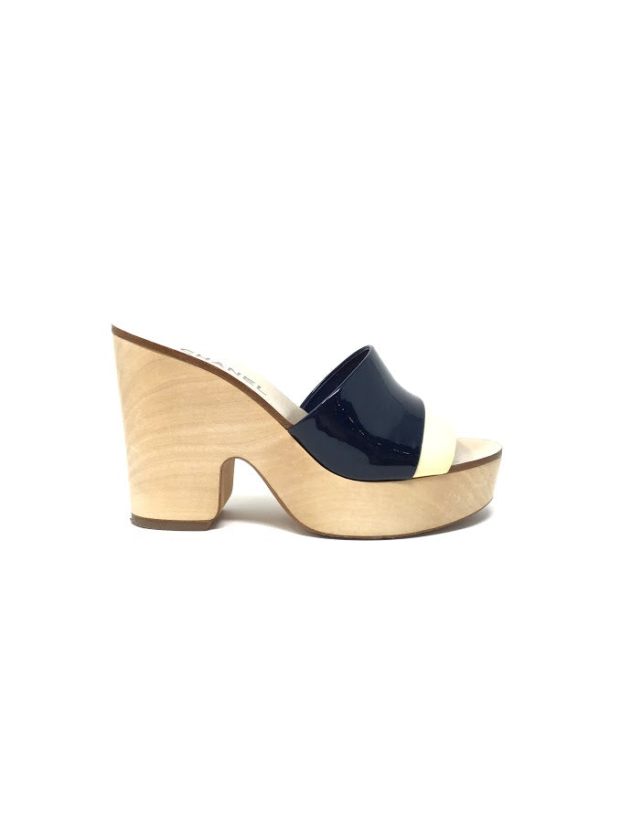 Chanel 38 Marin Patent Wooden Mule Sandal