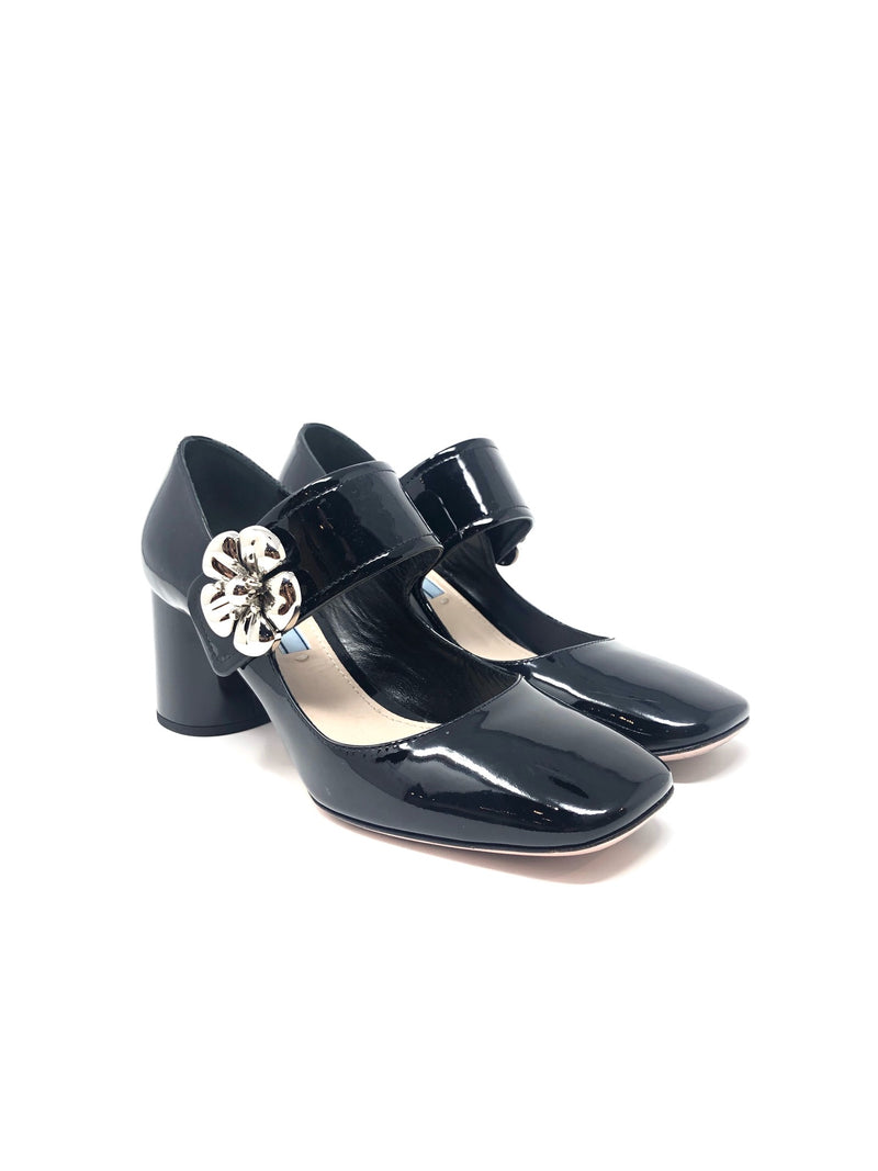 Prada 36.5 Patent Flower Mary Janes Low Heel