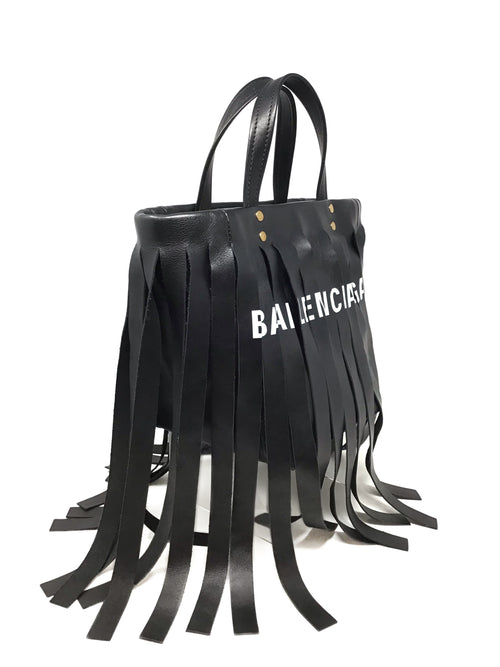 Balenciaga Black Leather 'Laundry Cabas' Fringe XS Tote