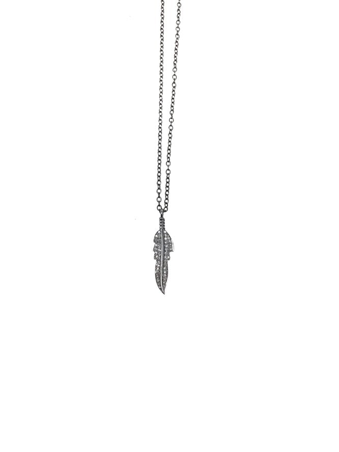 Shalom Jewelry Silver  Diamond Feather Pendant Necklace