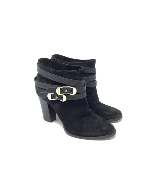 Jimmy Choo 38.5 Suede Double Buckle Ankle Bootie
