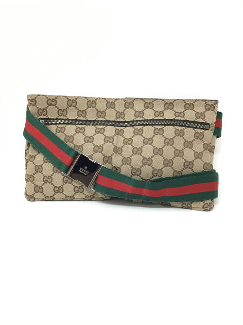 Gucci 'Shelly' Canvas Monogram W/Stripe Belt Bag