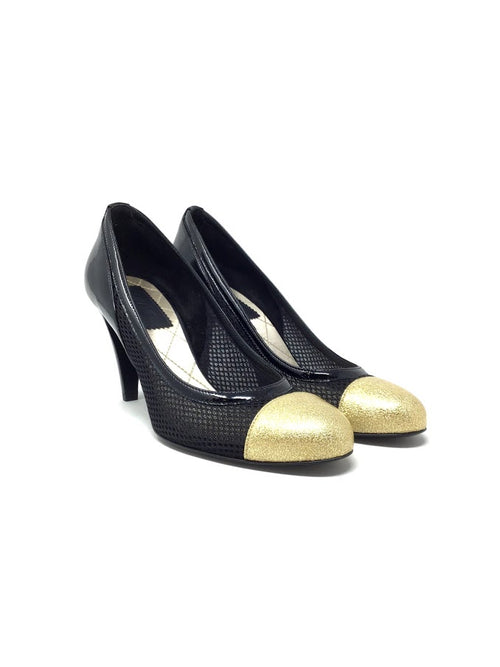 Chanel 40 Mesh & Patent Cap Toe Pumps