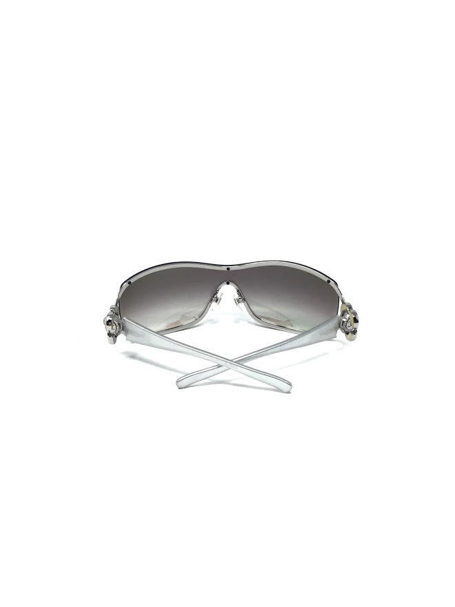 Chanel Mirror Shield Camellia Flower Hinge Stem Sunglasses