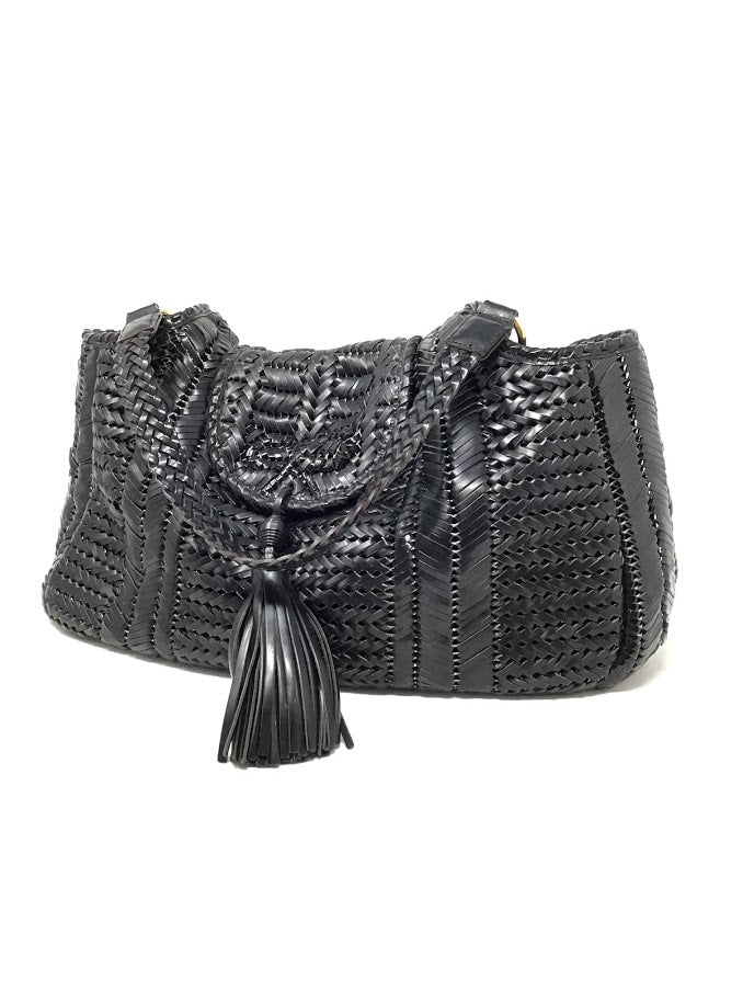 Anya Hindmarch Black Leather Woven Flap Tassel Tote