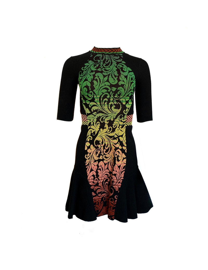 Missoni Size 2 Black/Green/Yellow SS Knit Crew Neck A-Line Dress