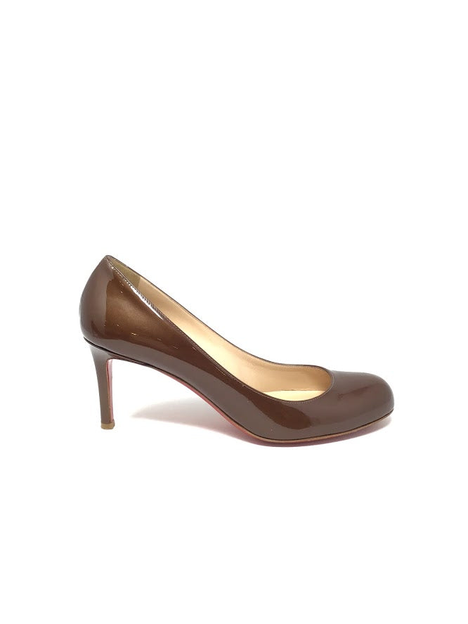 Christian Louboutin 39 Patent Simple Round Toe Pumps