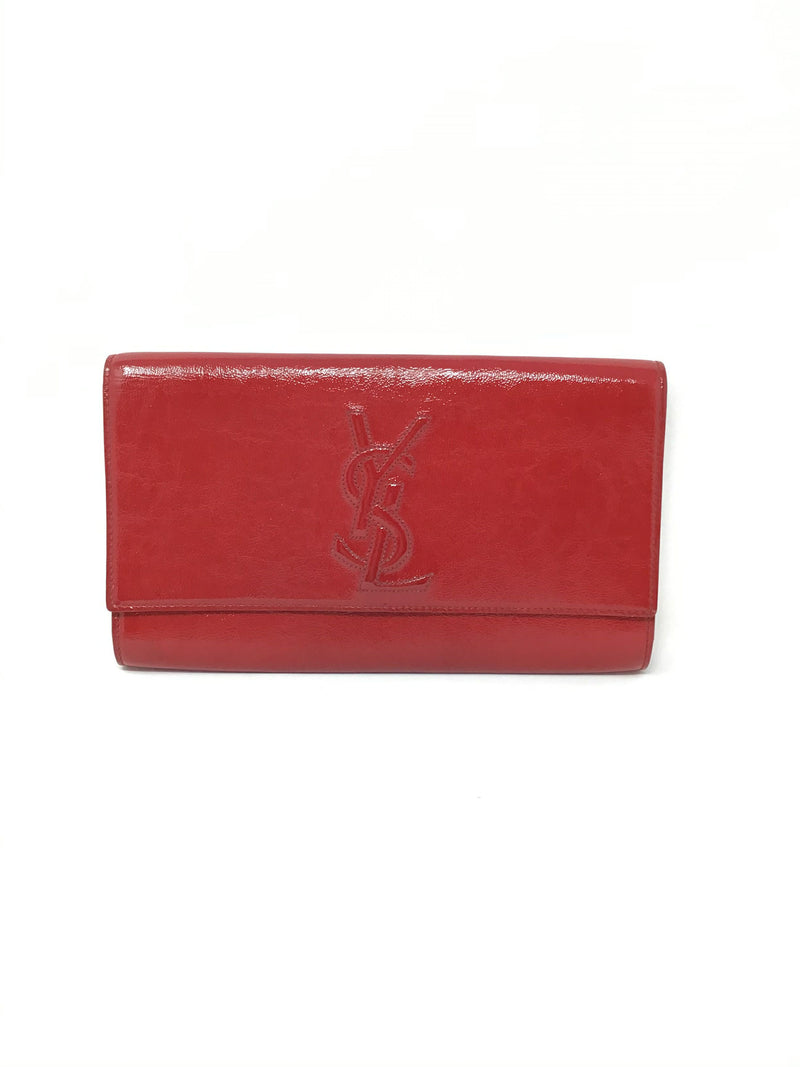 Saint Laurent Red Lg Patent 'Belle de Jour' Flap Clutch