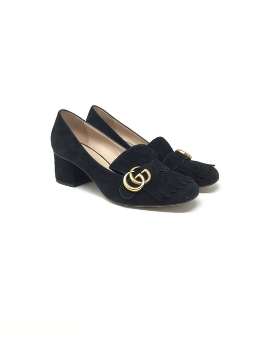 Gucci W Shoe Size 39.5 Suede 'Marmont' Low Heel