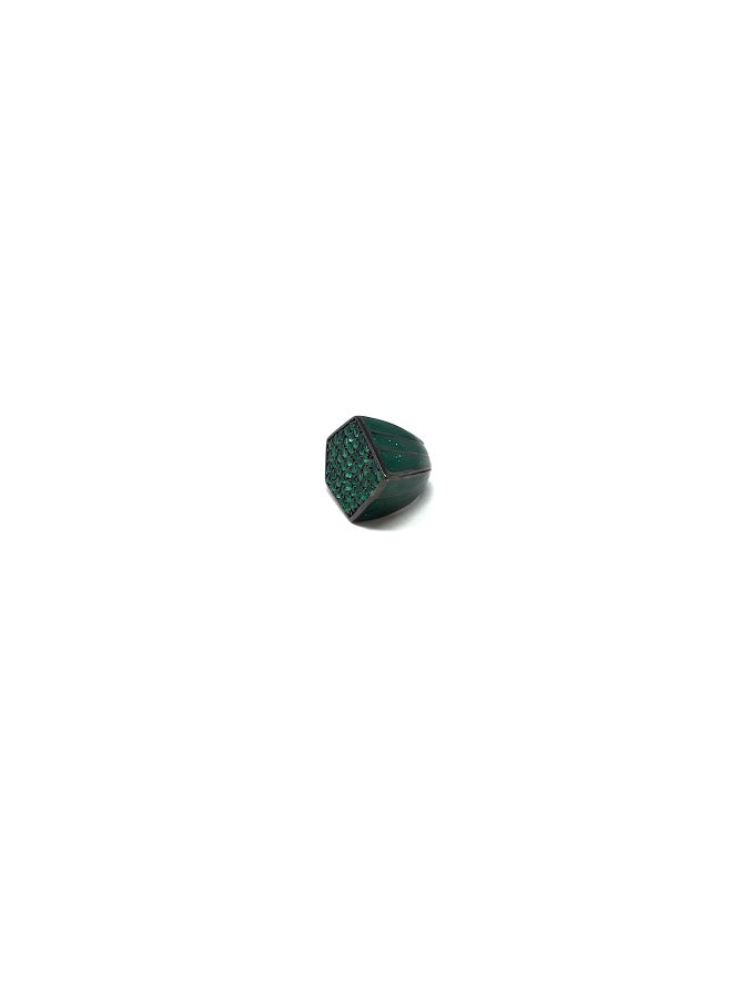 MCL Green Agate Pave Spike Ring