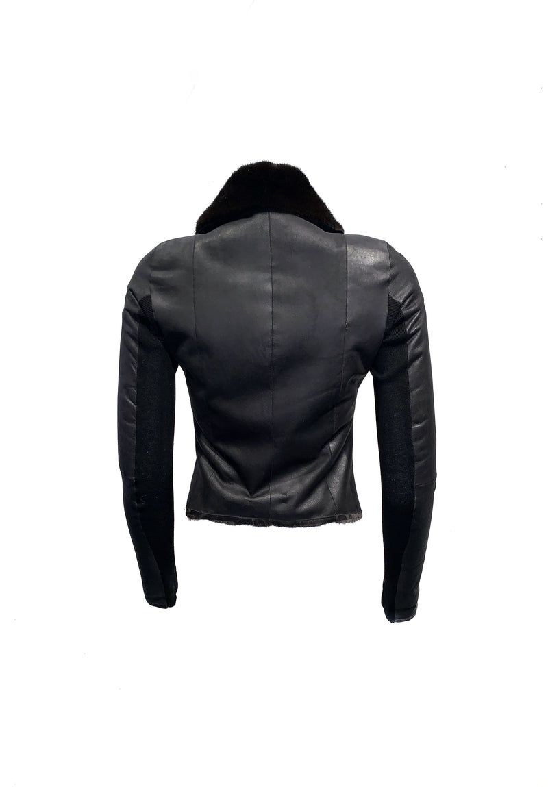 Rick Owens Size S Black Outwear                            Mink Leather Moto Jacket