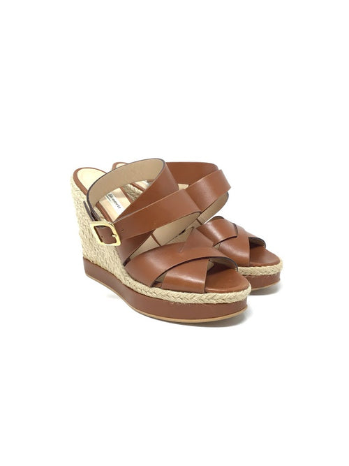 L.K. Bennett 39 Leather Crossover Espadrille Wedge